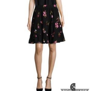 NWT Kate Spade In Bloom crepe skirt in blackmulti